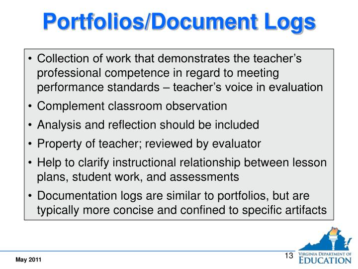 Portfolios/Document Logs