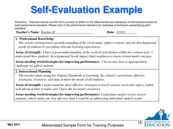 Self-Evaluation Example