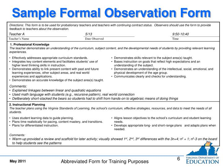 Sample Formal Observation Form