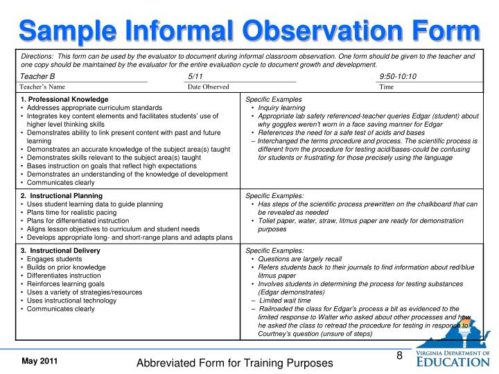 Sample Informal Observation Form