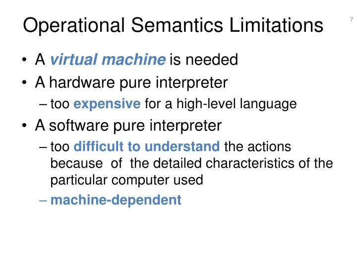 Operational Semantics Limitations