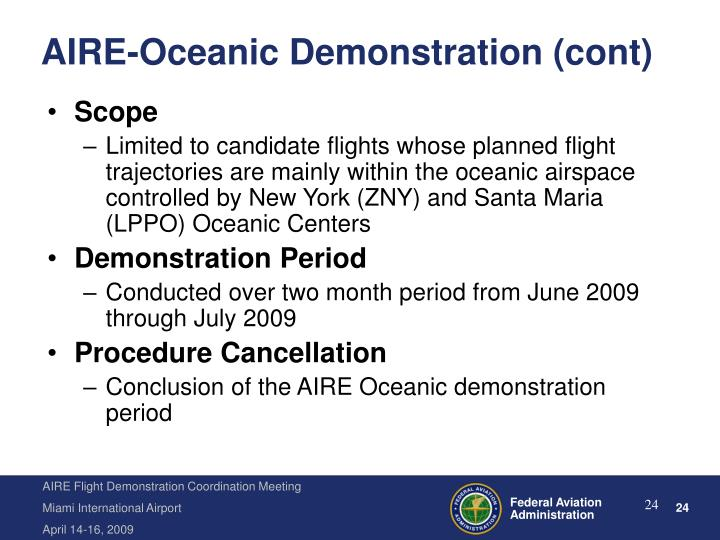 AIRE-Oceanic Demonstration (cont)
