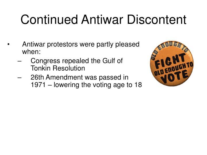 Continued Antiwar Discontent