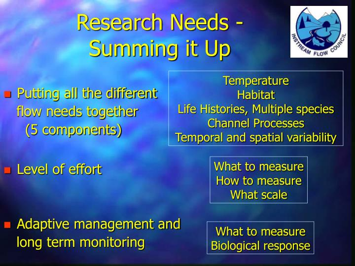 Research Needs -