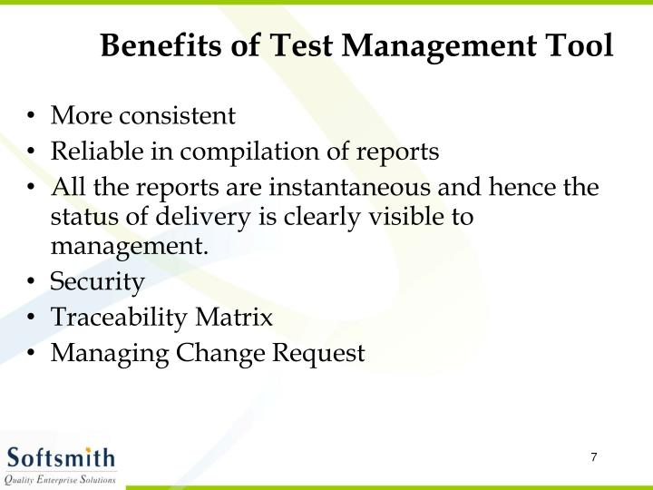 Benefits of Test Management Tool