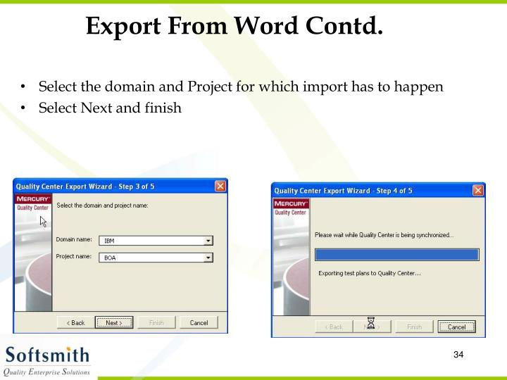 Export From Word Contd.