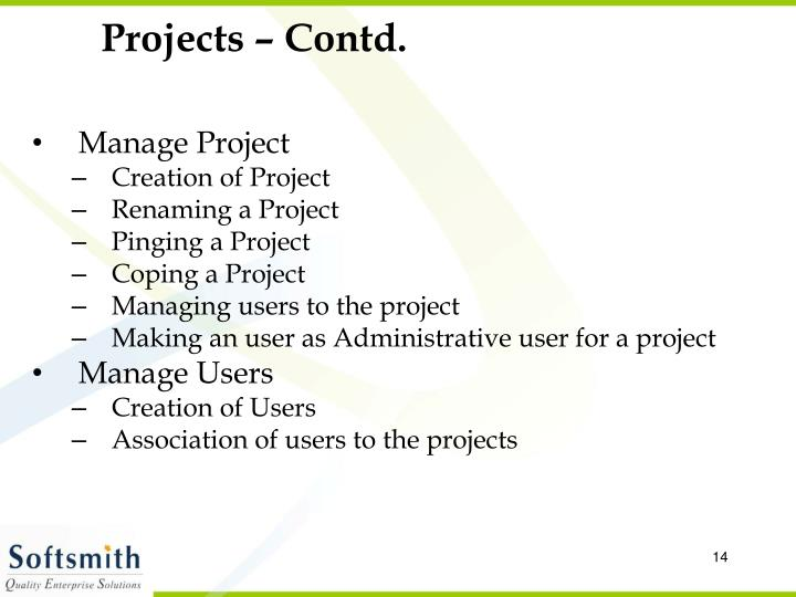 Projects – Contd.