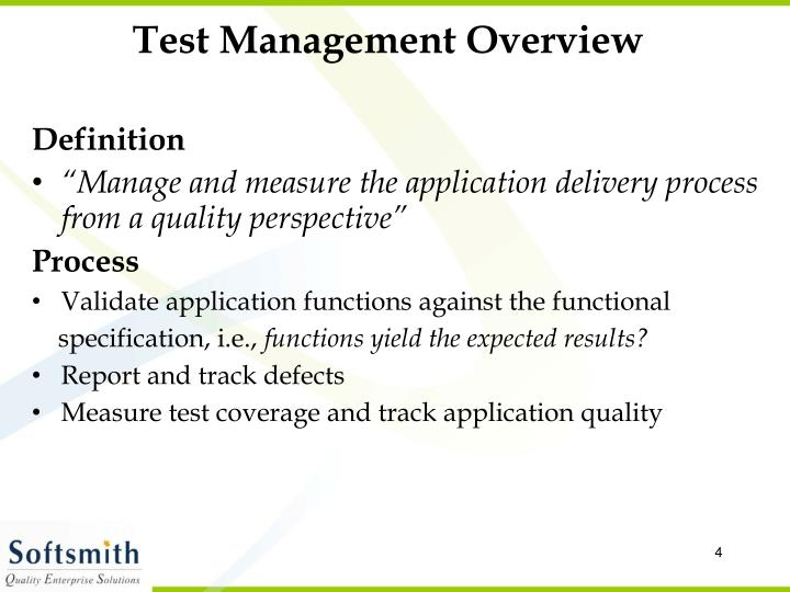 Test Management Overview