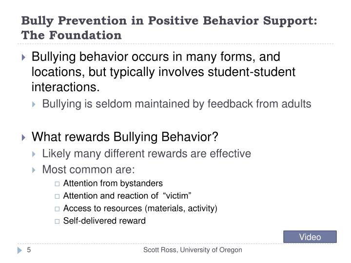 Bully Prevention in Positive Behavior Support: