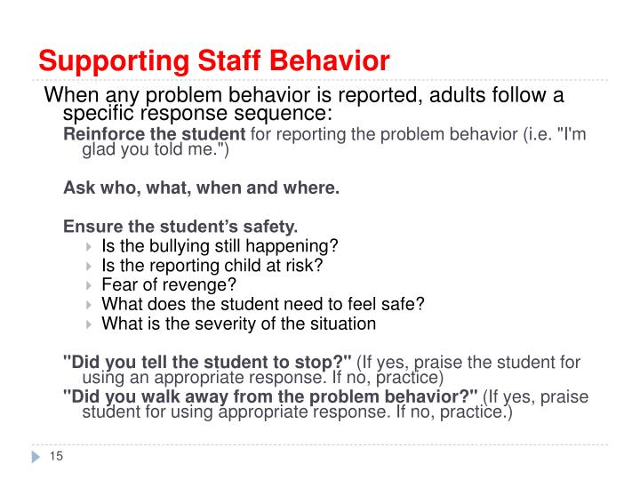 Supporting Staff Behavior