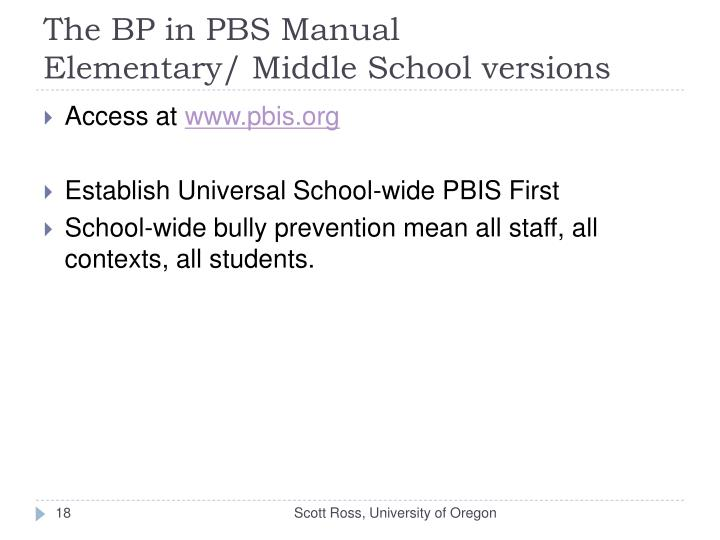The BP in PBS Manual