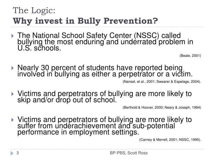 The logic why invest in bully prevention