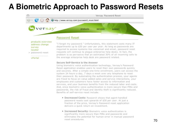 A Biometric Approach to Password Resets