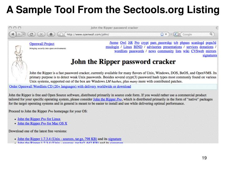 A Sample Tool From the Sectools.org Listing