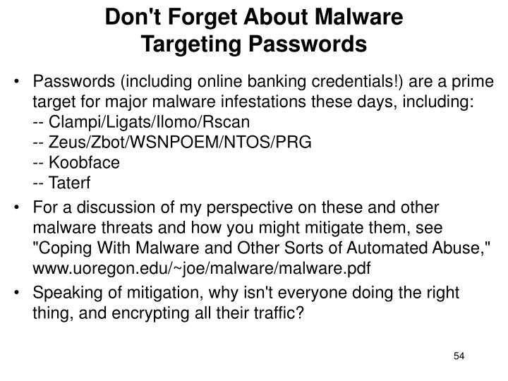 Don't Forget About Malware