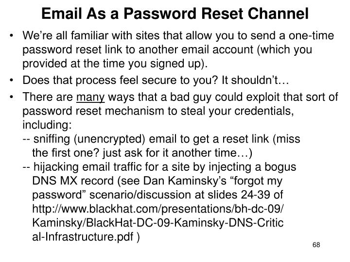 Email As a Password Reset Channel