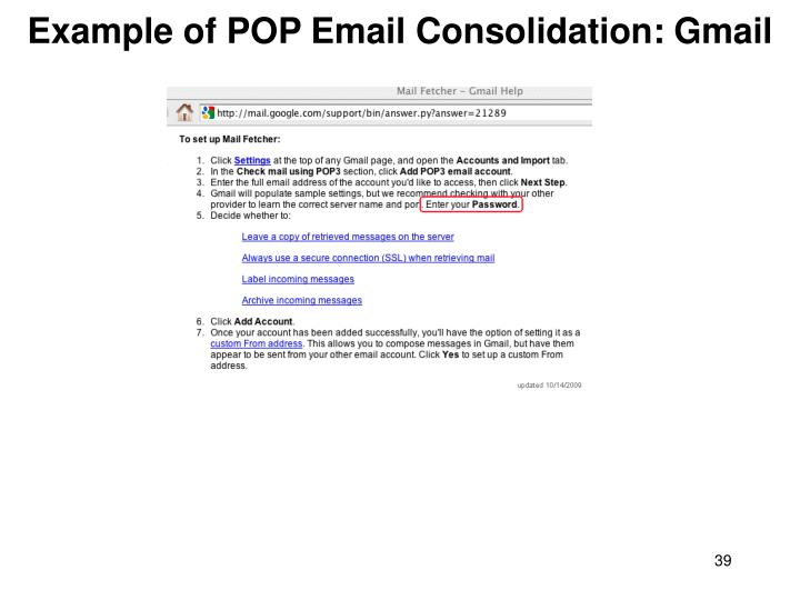 Example of POP Email Consolidation: Gmail