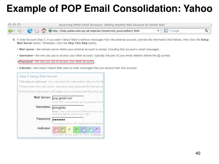 Example of POP Email Consolidation: Yahoo