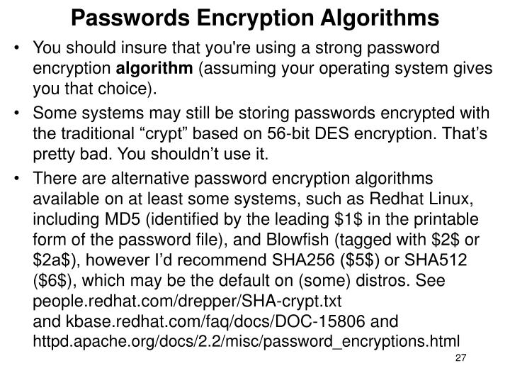 Passwords Encryption Algorithms