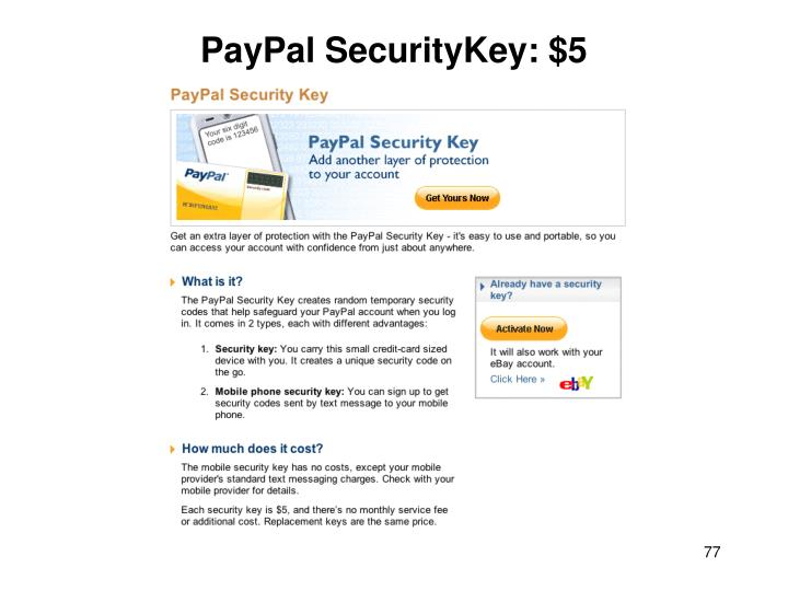 PayPal SecurityKey: $5