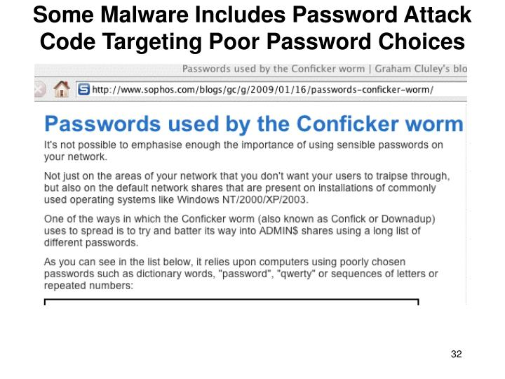 Some Malware Includes Password Attack