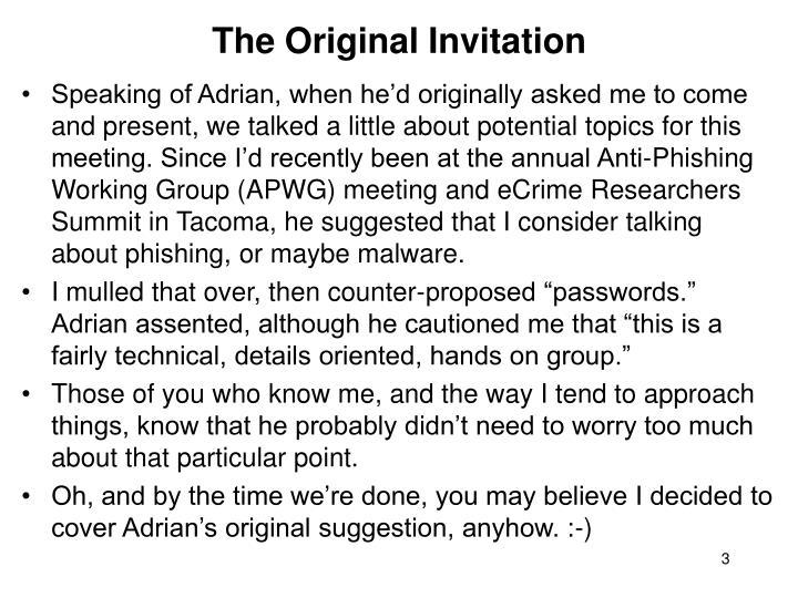 The Original Invitation