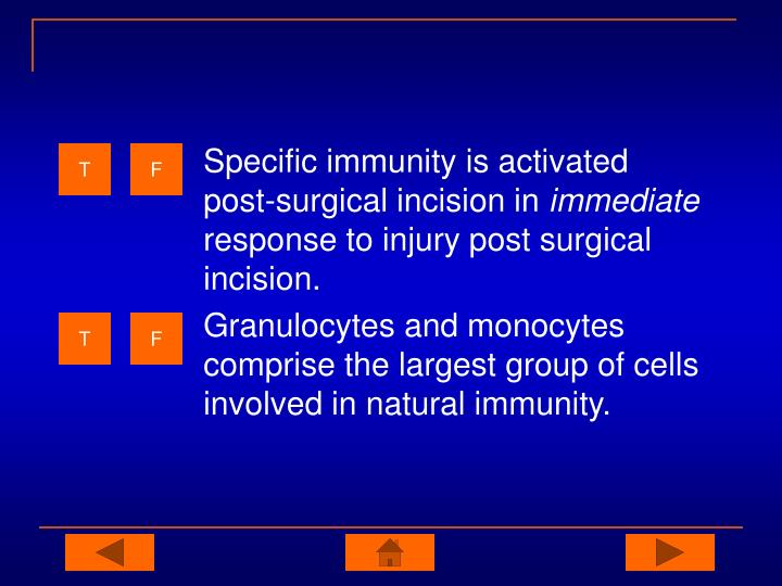 Specific immunity is activated post-surgical incision in