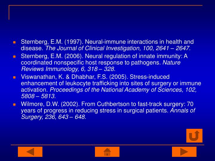 Sternberg, E.M. (1997). Neural-immune interactions in health and disease.