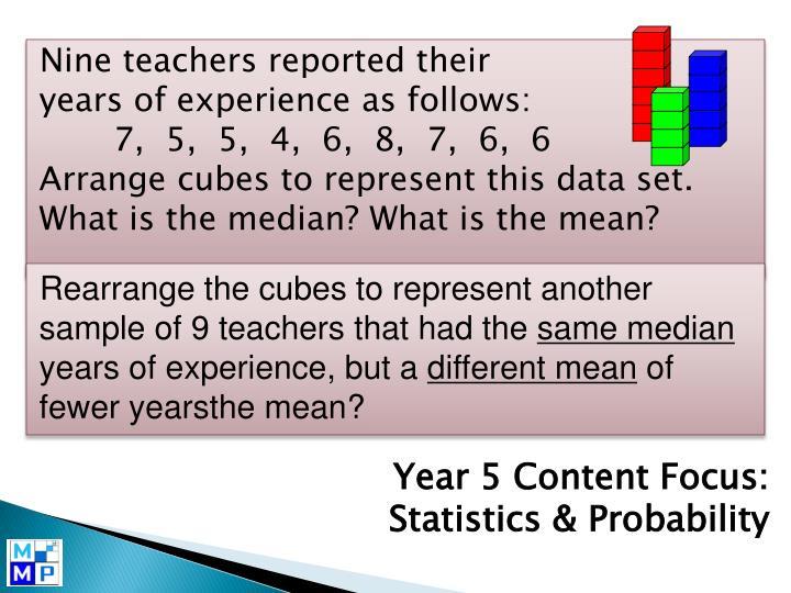 Nine teachers reported their