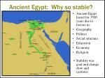 ancient egypt why so stable