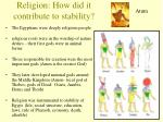 religion how did it contribute to stability