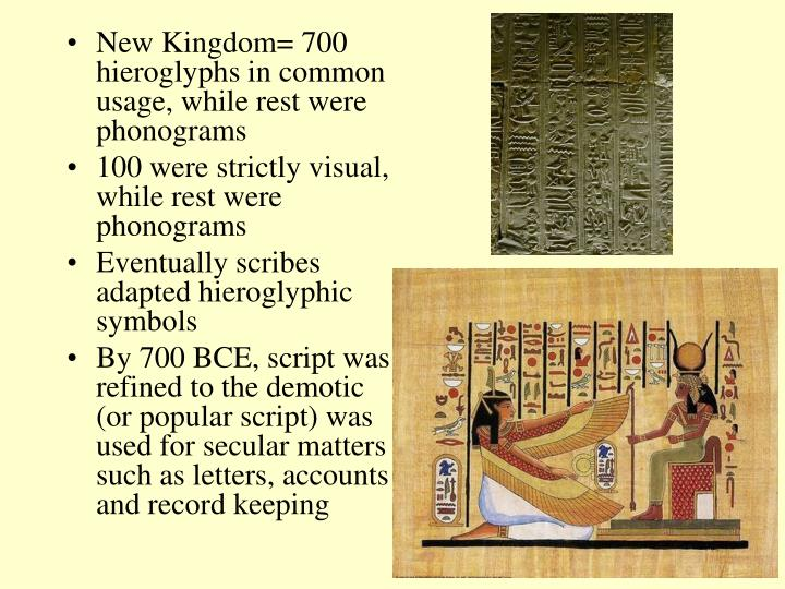 New Kingdom= 700 hieroglyphs in common usage, while rest were phonograms