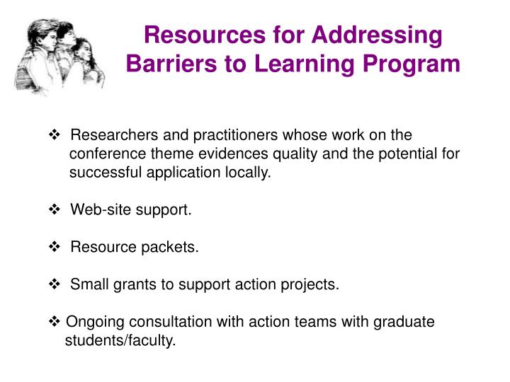 Resources for Addressing Barriers to Learning Program