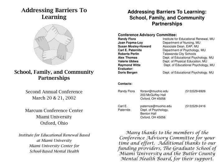 Addressing Barriers To Learning:
