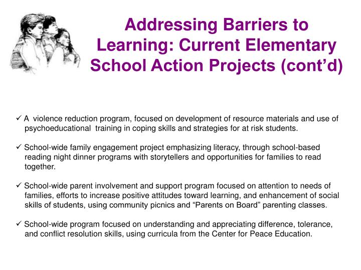Addressing Barriers to Learning: Current Elementary School Action Projects (cont'd)