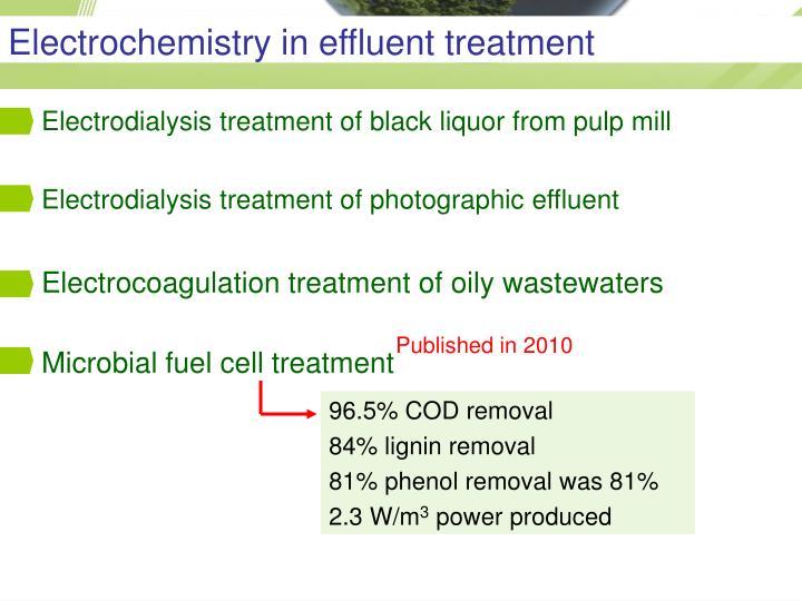 Electrochemistry in effluent treatment