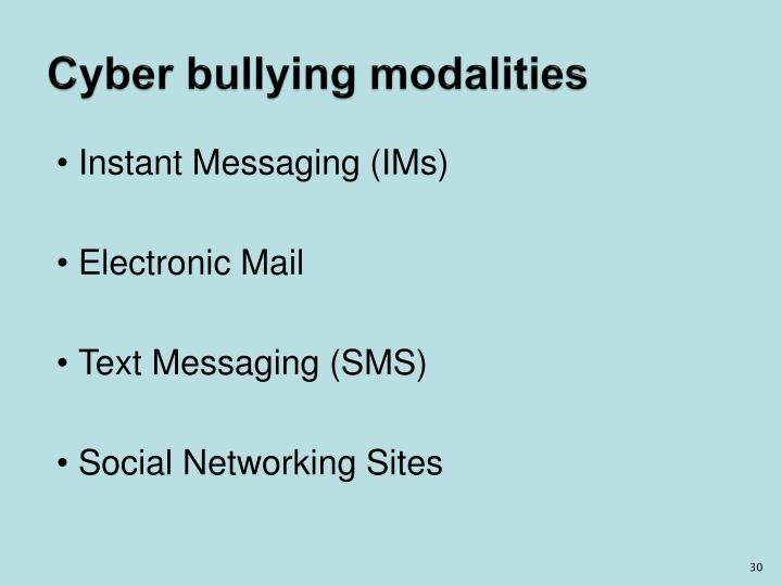 Cyber bullying modalities
