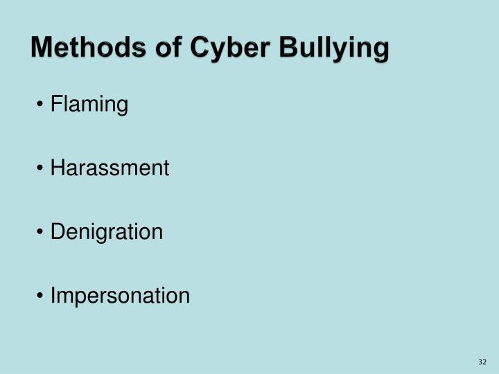 Methods of Cyber Bullying
