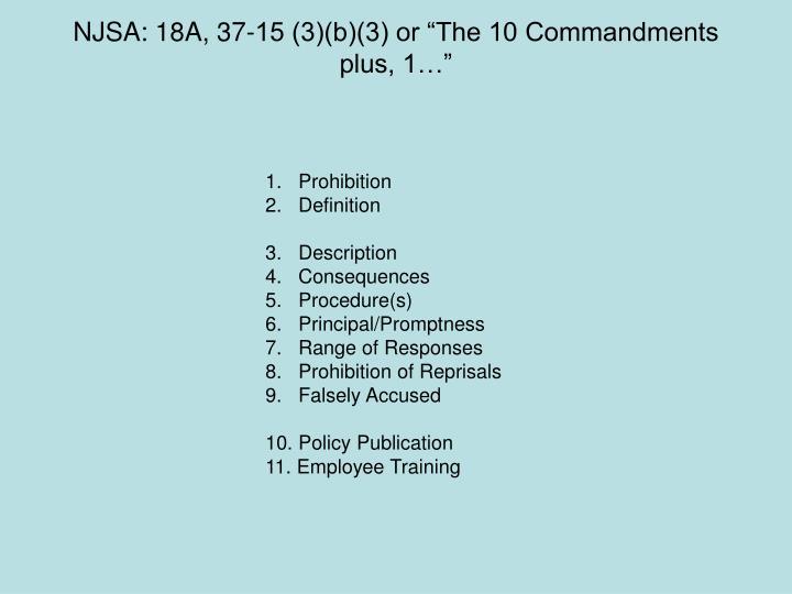 "NJSA: 18A, 37-15 (3)(b)(3) or ""The 10 Commandments"