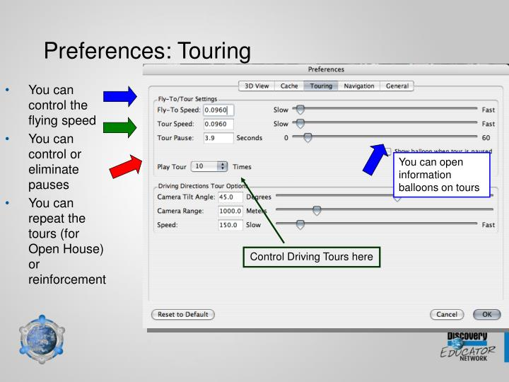 Preferences: Touring