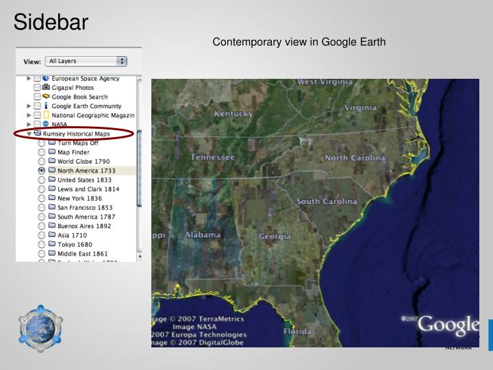 Contemporary view in Google Earth