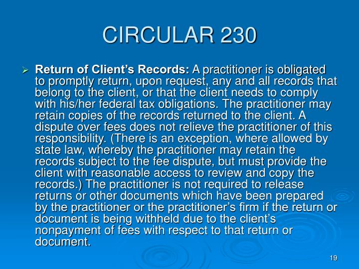 CIRCULAR 230
