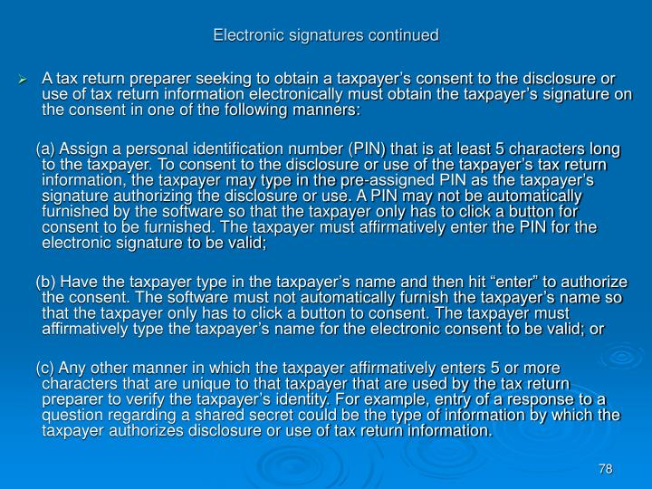 Electronic signatures continued