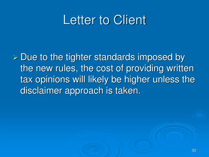 Letter to Client