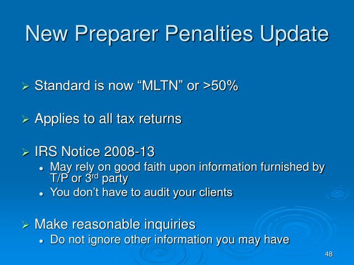 New Preparer Penalties Update