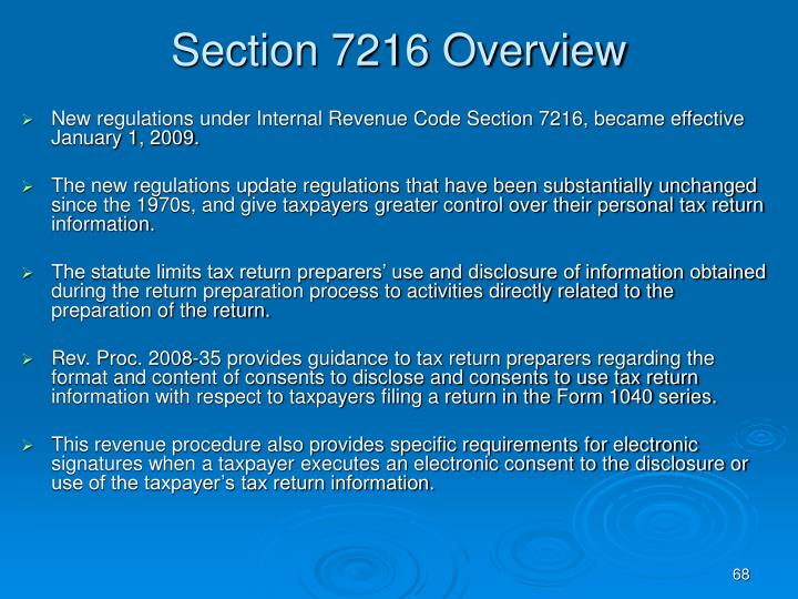 Section 7216 Overview