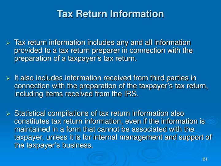 Tax Return Information