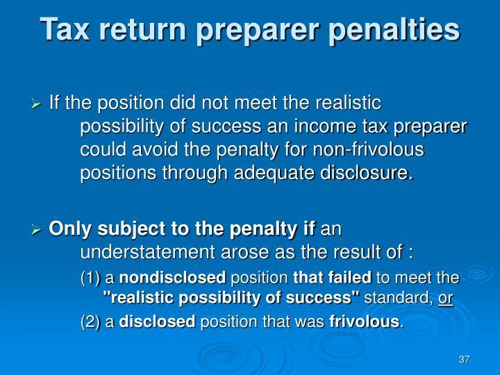 Tax return preparer penalties