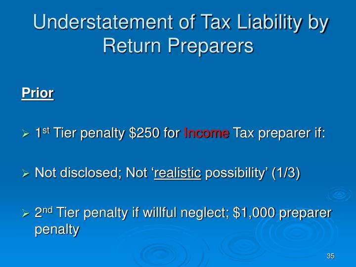 Understatement of Tax Liability by Return Preparers