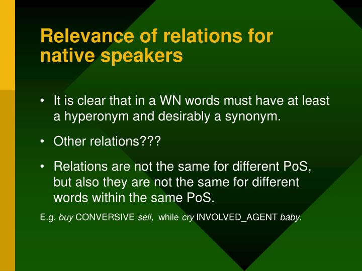 Relevance of relations for native speakers